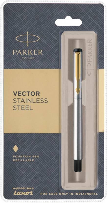 Blue Ink Parker Vector Gold Fountain Pen Refillable